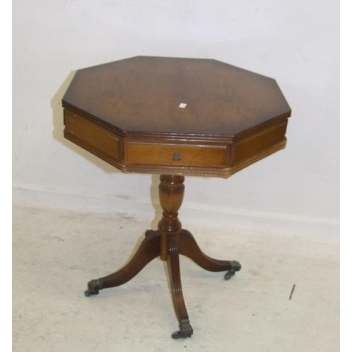 37 - Octagonal Side Table with turned centre column on castors (A3)...