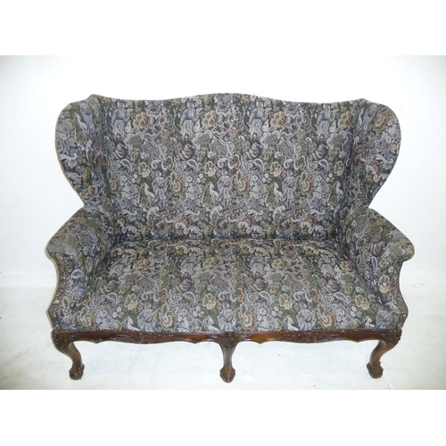 40 - 2 Seater High Back Wing Sofa on 3 carved cabriole ball & claw supports with shell carved frieze (FWL...