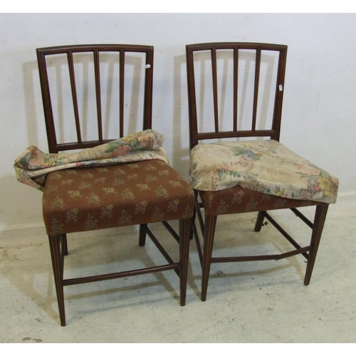43 - Pair Hepplewhite Side Chairs with overstuffed seats (2) (A2)...