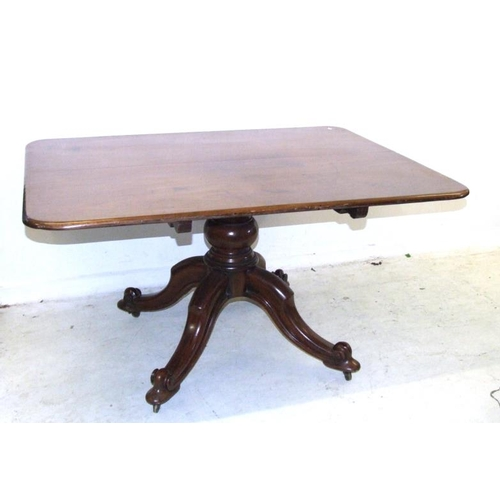 46 - Regency Rectangular Breakfast Table on 4 cabriole supports with castors, bold centre column, solid m...
