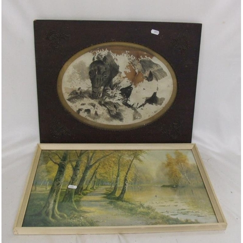 319 - F/g Print Woodland Scene with lake & figure in boat & Oak Frame with decorative corners (2) (A2)...