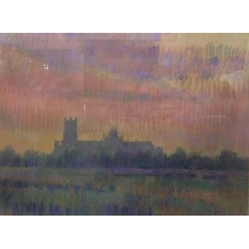 327 - Large F/g Pastel Ely Cathedral 'Evening' by Geoff Marsters, image approx. 21