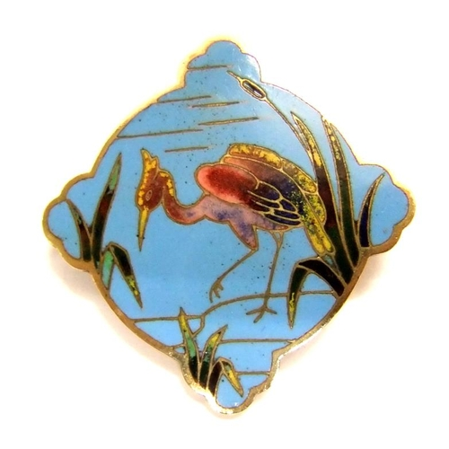523 - Alexis Falize (1811-1898) Blue Enamelled Crane/Heron Brooch with yellow metal back approx. 1