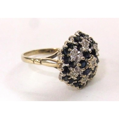 501 - 9ct Gold Sapphire & Diamond Princess Style Cluster Ring, size N...