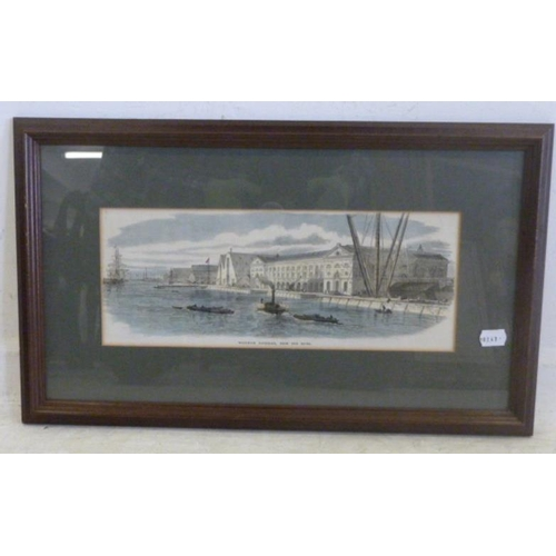 311 - F/g C19th Coloured Engraving Woolwich Dockyard from the river with paddle steamers etc. (BWR)...