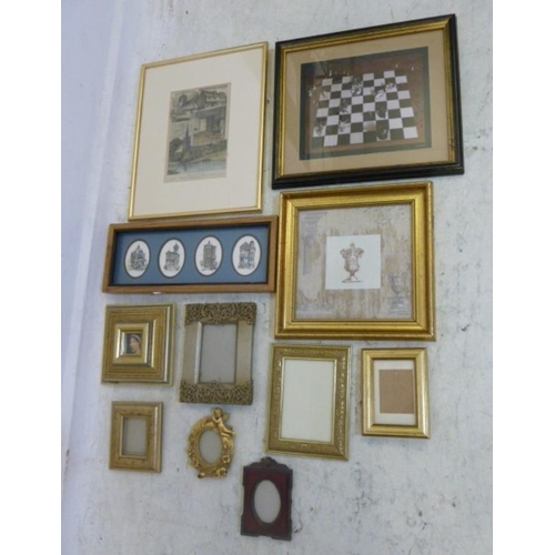 335 - Small Frames, print of a chess board etc. (Box) (A6)...