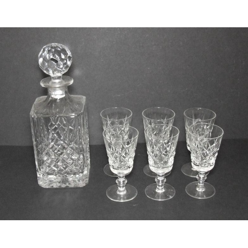 582 - Square Glass Decanter & Set 6 Sherry Glasses...