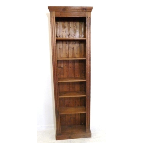 50 - Dark Stained Pine Tall Open Shelving Unit with fluted columns, on plinth base, adjustable shelves, 7...