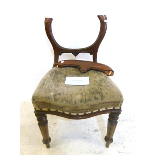 53 - C19th Mahogany Balloon Back Chair with overstuffed serpentine front seat (for restoration) (A5)...