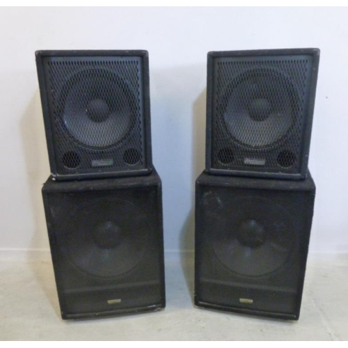 54 - 2 Pairs PA Speakers: KAM KFS18 Sub Woofers & Pro Sound Bass Cabs (4) (BWR)...