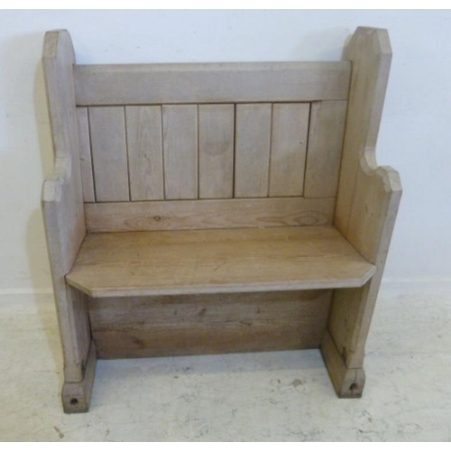 58 - Small Pine Pew with slab ends, tongue & groove back, approx. 2' 9
