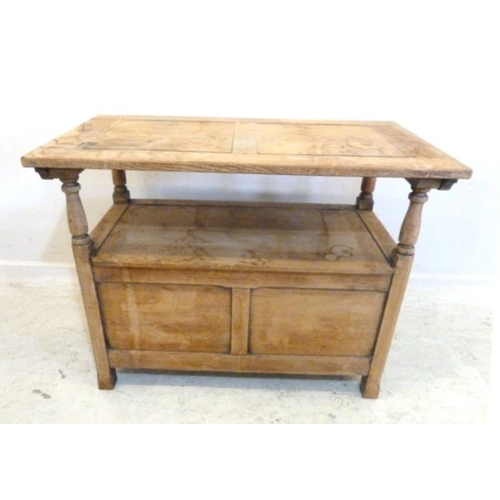 63 - Stripped Oak Monks Bench with hinged top & storage under seat, on turned supports (A6)...