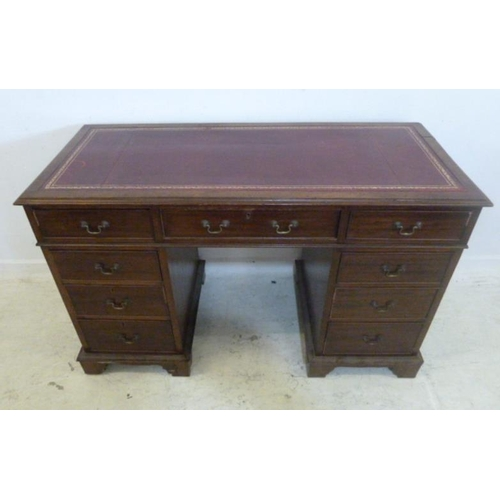 65 - Mahogany 3 Part Pedestal Desk, top inset red gilt tooled leather, 2 short & 1 long cock beaded drawe...