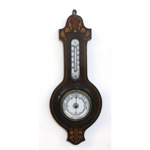 200 - Early C20th Mahogany Aneroid Barometer with marquetry inlay, dual gauge mercury thermometer (a/f), c...