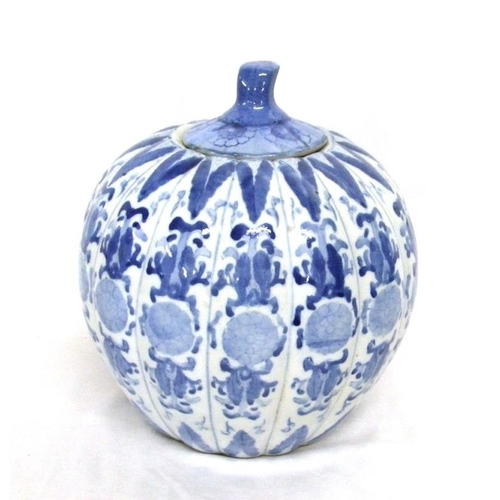 596 - Oriental Pumpkin Shaped Blue & White Ceramic Urn with cover...