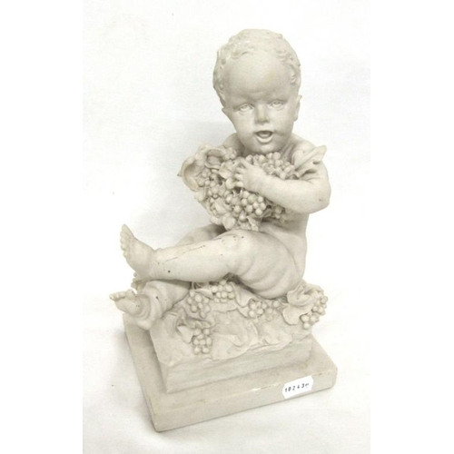611 - Composition Parian Style Figurine Young Child with grapes & vines, on plinth base...