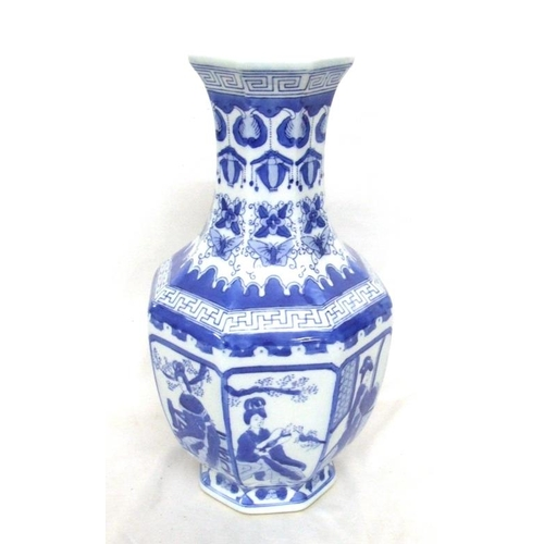 595 - Chinese Octagonal Baluster Shaped Vase decorated with panels ladies in courtyard, neck decorated wit...