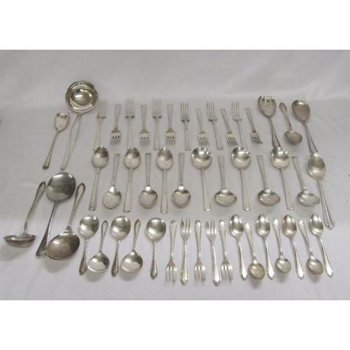 566 - Silver Plated Cutlery incl. spoons, forks, teaspoons, sugar tongs, cake slice, ladles, serving spoon...
