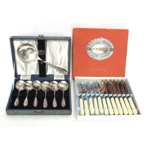 565 - Set Silver Plated Fruit Spoons in fitted case & Set Silver Pride Fish Knives & Forks in box...