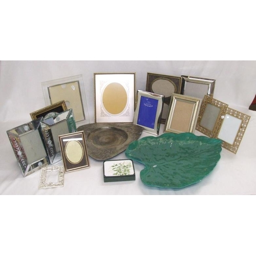 861 - Photograph Frames incl. silver plated, glass, Staffordshire ceramic picture, large leaf shaped melam...