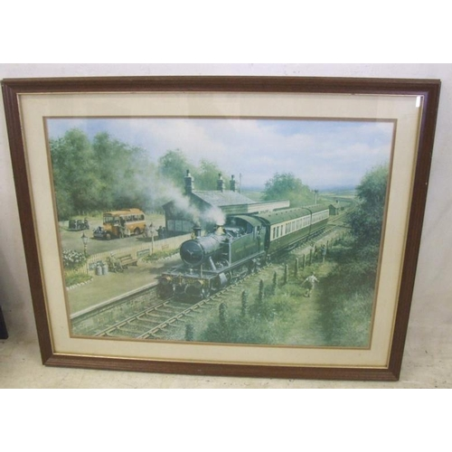 344 - Large F/g Print 'Country Connection' steam train in station (A9)...