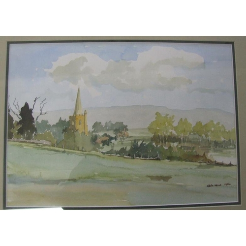 351 - F/g Watercolour Rural Scene with church to distance, by Keith Wells 1994 (A6)...