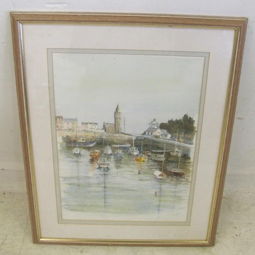 352 - F/g Watercolour & Pastel 'Porthleven' by Min Kennedy, signed (A5)...