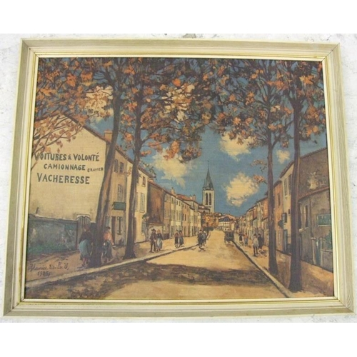 361 - Framed Maurice Utrillo Print on Board 'La Vacheresse, Route National à Anse' (A14)...
