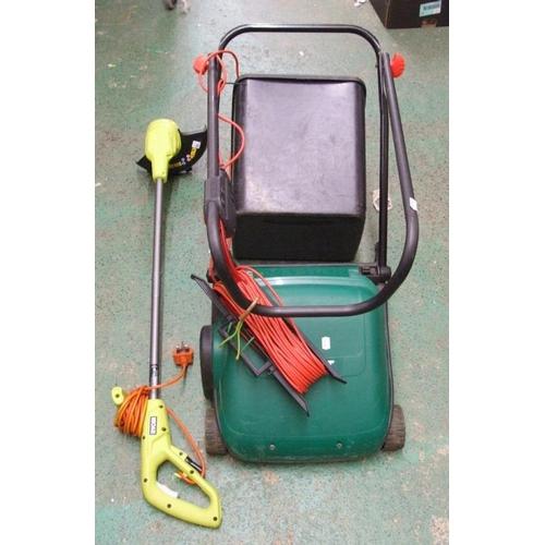834 - Qualcast Bosch Lawn Mower with grass box & Ryobi Strimmer...