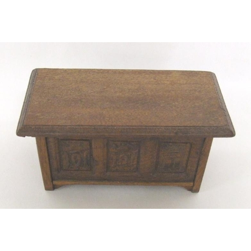 649 - Miniature Wooden Antique Style 3 Panel Carved Coffer with hinged coffer, approx. 5