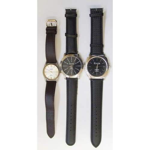 516 - Gents Wristwatches: Eiger Ultimate Edition Gents Wristwatches with black dial & baton markers, Eiger...