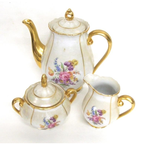 607 - Czechoslovakian 3 Piece Lustre & Gilt Flower Decorated Coffee Set: coffee pot, cream jug & covered s...