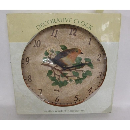 204 - As New Weather Resistant Hand Painted Wall Clock decorated with robin, Arabic numerals (A7)...