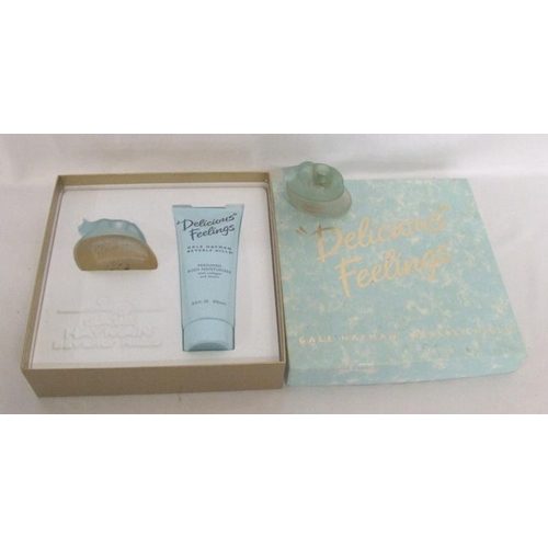 708 - Vintage Gale Hayman 'Delicious Feelings' Gift Set with perfume & body lotion in fitted box & Empty P...