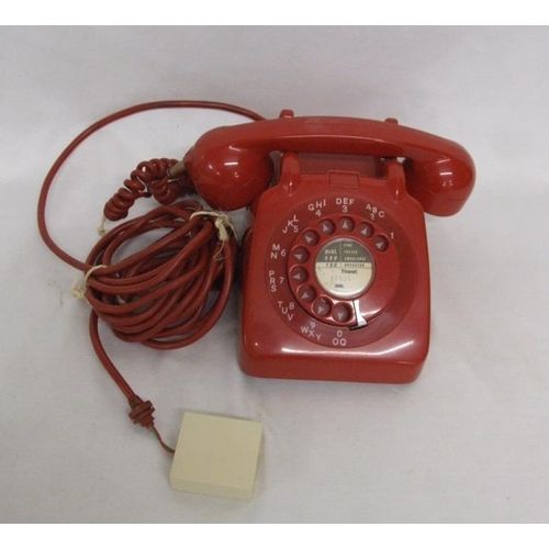 690 - Red Plastic Dial Telephone TSD661 GPO...