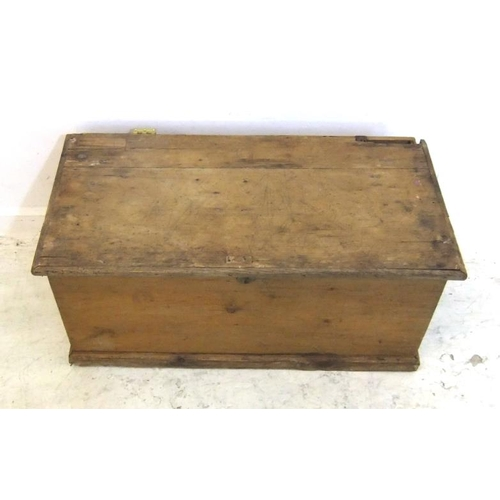 100 - Victorian Pine Trunk with iron carrying handles, on plinth base, hinged cover (lid detached), approx...