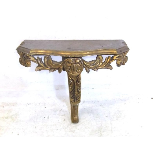 109 - Small Wall Mounted Hall Table on cabriole style acanthus carved supports, approx. 17