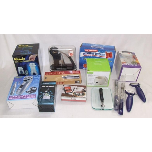891 - As New Items incl. corkscrew, shaving trimmer, Window Wizard, LED lantern, teeth cleaner, milk froth...