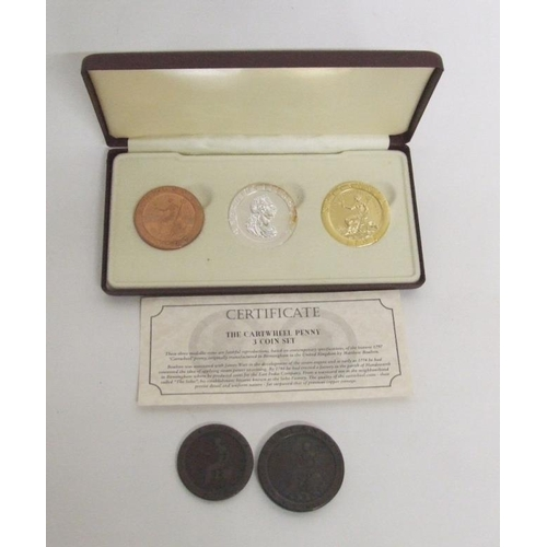 769 - Original 1797 Cartwheel Penny & Cartwheel Halfpenny & Limited Edition Set Copper, Silvered & Gilt Re...
