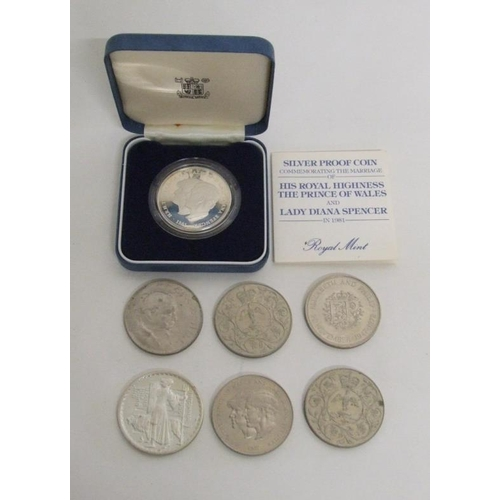 775 - Royal Mint Silver Proof Crown Prince of Wales & Lady Diana Spencer 1981 with certificate, white meta...