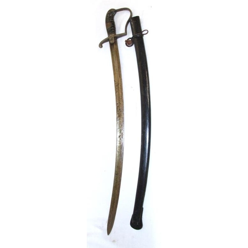 692 - C19th Naval Cutlass with leather grip in painted metal scabbard...