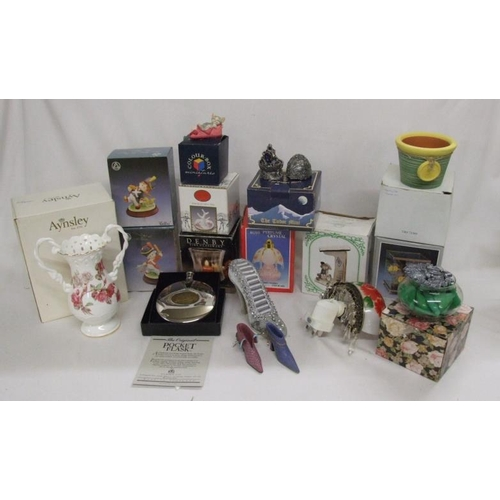 975 - Denby Glass Candle Holder, figurines, porcelain ring tree, plug-in night lights, pocket flask, egg o...