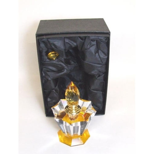 571 - Amber & Clear Glass Scent Bottle with spire stopper, boxed as new...