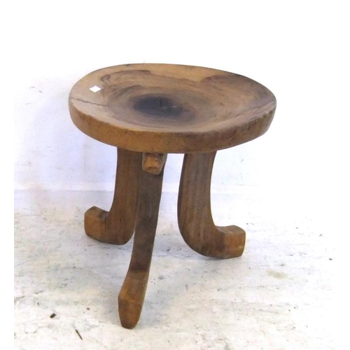 81 - Ashanti Style Wooden Stool with scooped circular seat, on sabre shaped supports (A6)...