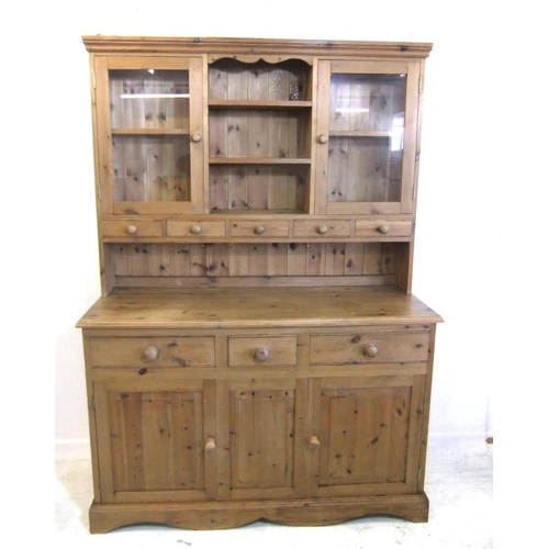 76 - Modern Pine 3 Door Dresser on plinth base with 2 deep frieze drawers, superstructure with open hutch...