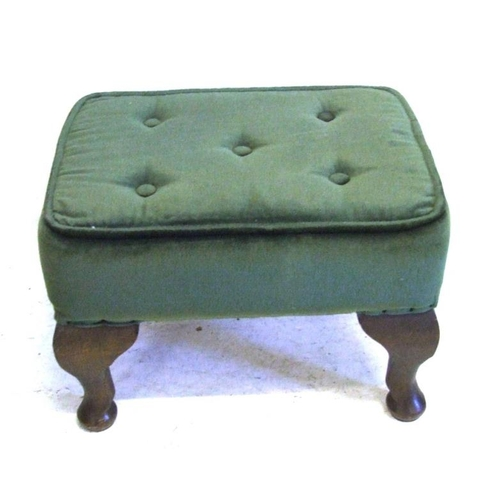 124 - Small Footstool with green velour upholstery, on cabriole style legs (A4)...