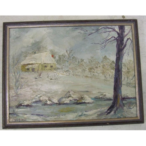 383 - Oil on Board Winter Scene with cottage, small stream & woodland, signed Boutell-Lover (A13)...