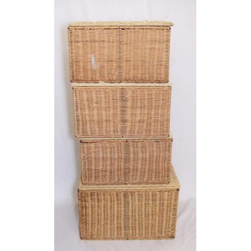 866 - 4 Rectangular Lidded Split Cane Baskets...