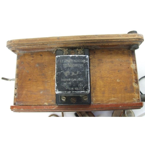 876 - Wall Mounted French Telephone in mahogany case, marked 'Property of L'etat Marche Du 6 Octobre 1914 ...