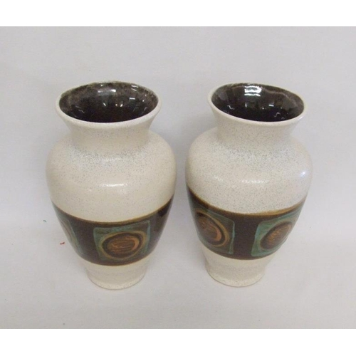 619 - Pair Bay Baluster Shaped Vases, decorated with bands of brown & turquoise geometric designs...